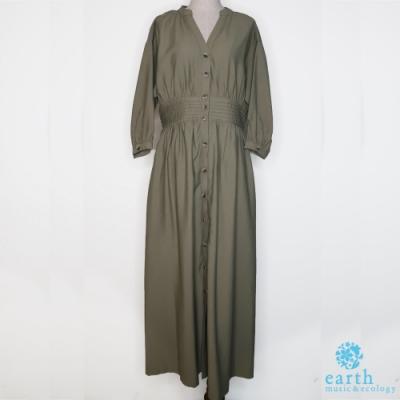 earth music 束腰V領罩衫式洋裝