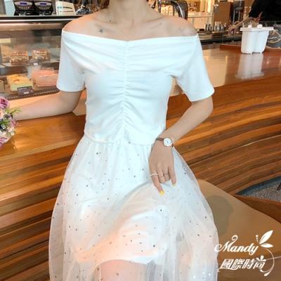 Mandy國際時尚二件套組一字領上衣亮片網紗半身裙預購韓國服飾