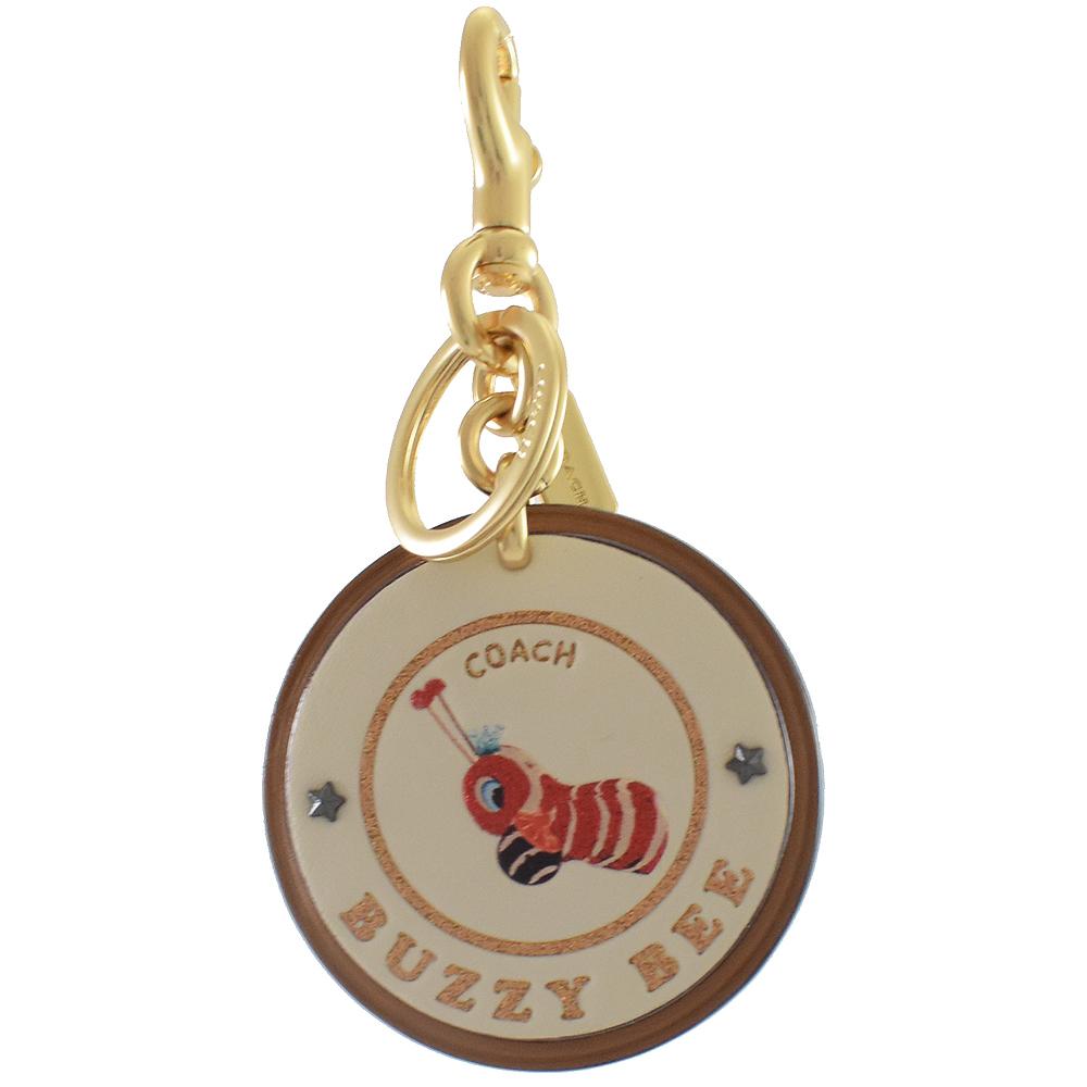 COACH 皮革金蔥圖樣圓型鑰匙圈(蜜蜂)COACH