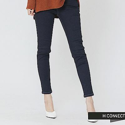 H:CONNECT 韓國品牌 女裝-仿舊刷色合身長褲-藍