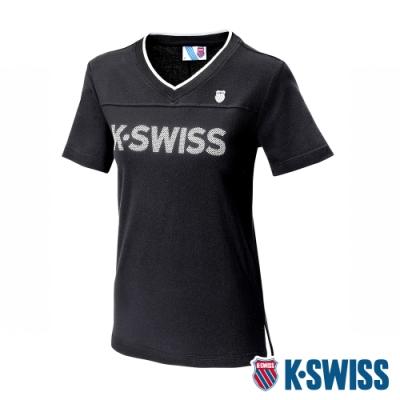 K-SWISS KS V-Neck Tee印花短袖T恤-女-黑