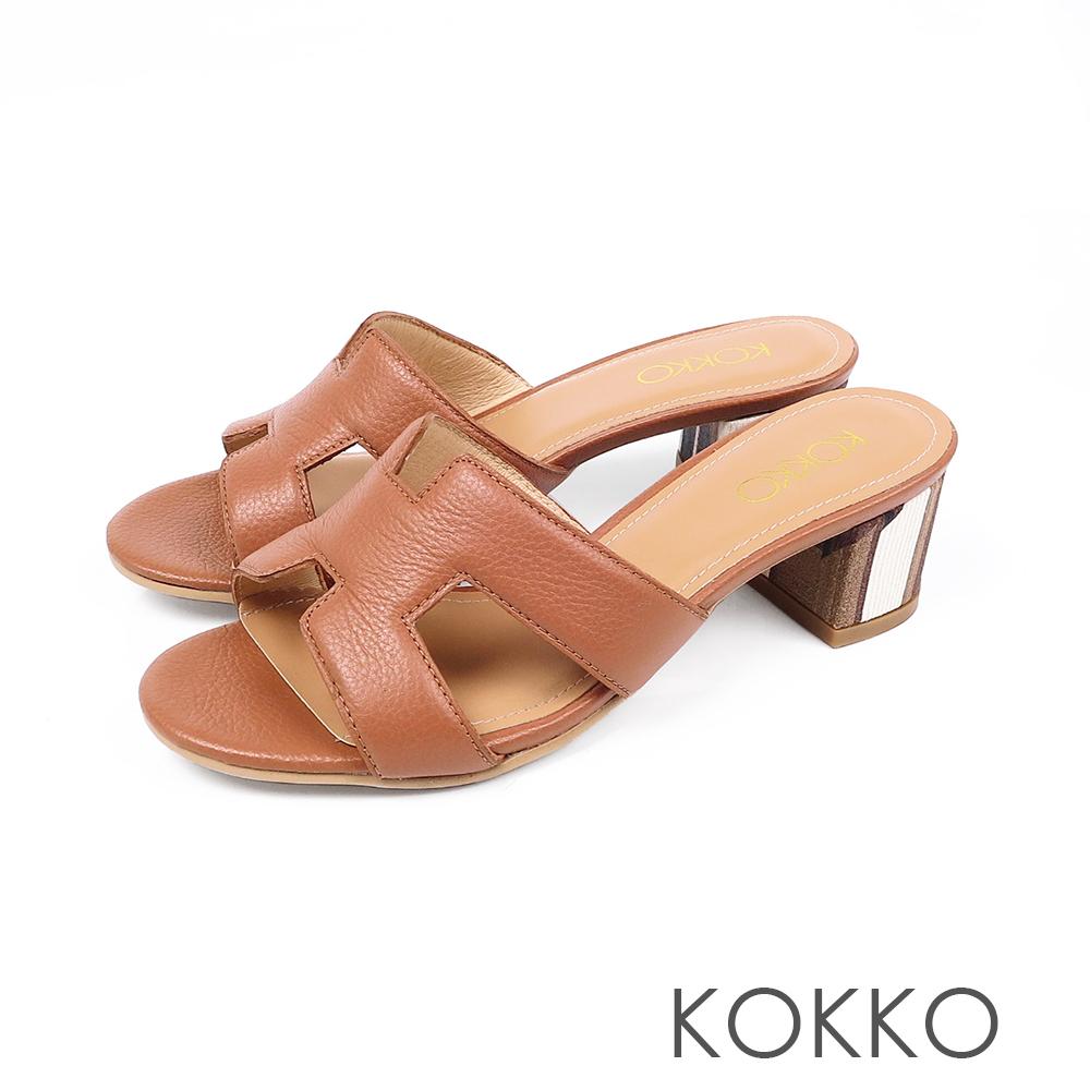 KOKKO浮華世界H形彩畫粗跟真皮拖鞋瑪瑙棕