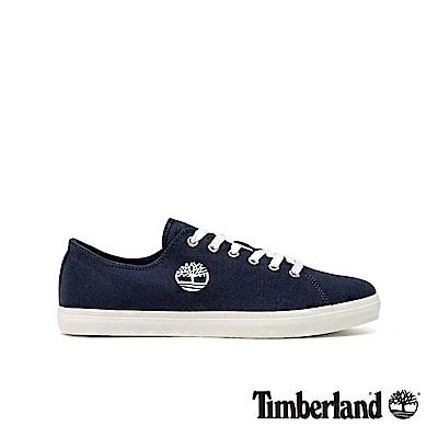 Timberland 男款深藍寶石色大樹LOGO帆布休閒鞋|A1Q6A
