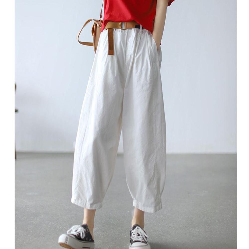 老爹褲高腰顯瘦九分哈倫褲送腰帶四色可選-設計所在 (白色)