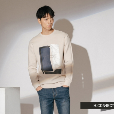 H:CONNECT 韓國品牌 男裝-幾何印花上衣-卡其
