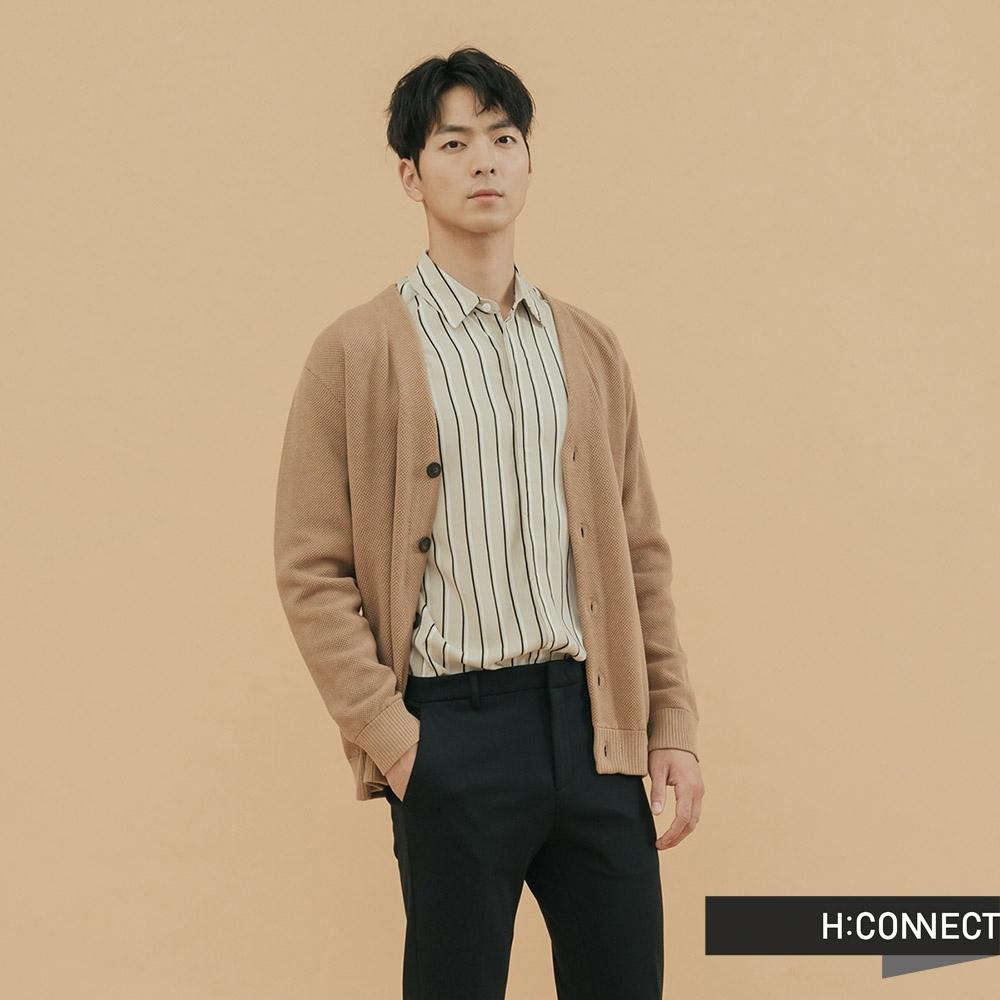 H:CONNECT 韓國品牌 男裝 - V領排扣口袋外套 - 駝色