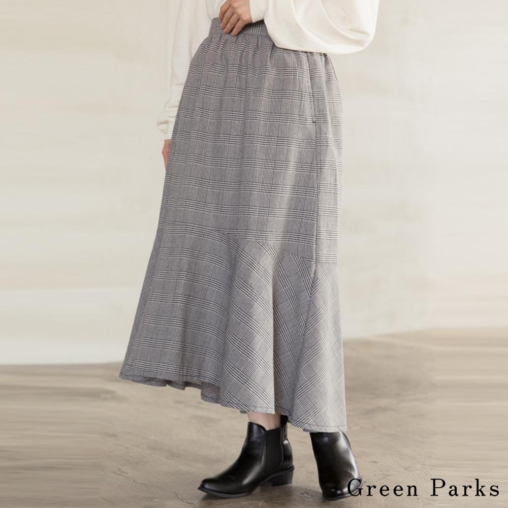 Green Parks 格紋拼接喇叭裙