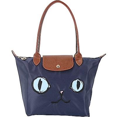 LONGCHAMP Le pliage Miaou 小款長提把貓咪肩背包(海軍藍)