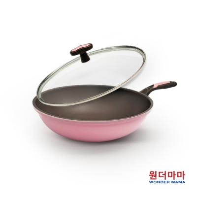 韓國WONDER MAMA粉鑽陶瓷不沾炒鍋30cm含蓋(適用電磁爐)(快)