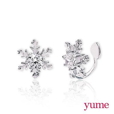 YUME - 純銀夾式-雪花晶鑽耳環