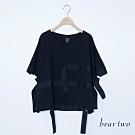beartwo-幾何裝飾帶寬T-黑