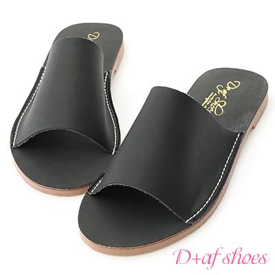 D+AF 愜意搭配.超軟一字平底涼拖鞋*黑