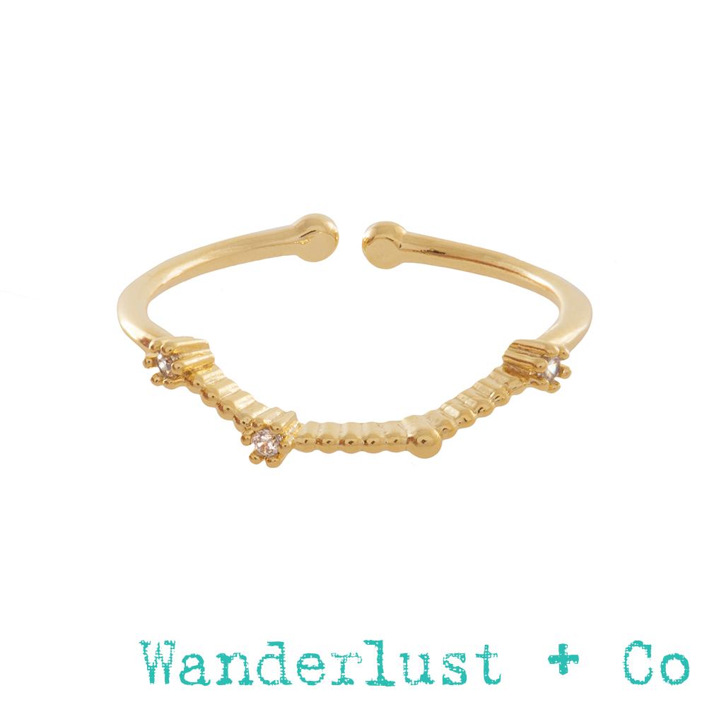 Wanderlust+Co 12星座系列- 牡羊座金色水鑽戒指