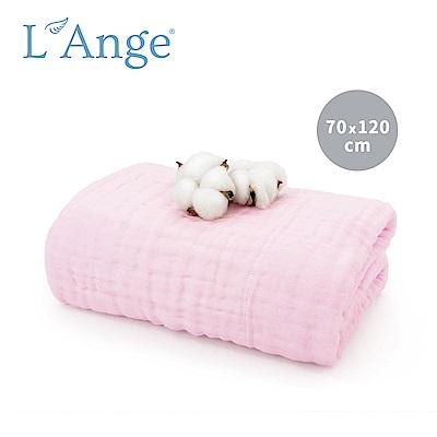 L'Ange 棉之境 6層純棉紗布浴巾/蓋毯 70x120cm-粉色