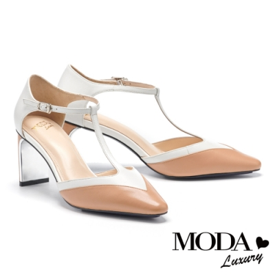 高跟鞋 MODA Luxury 摩登雙色T字帶羊皮小方頭高跟鞋-杏