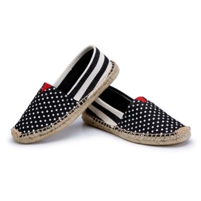 韓國KW美鞋館 (現貨+預購)-小星星黑粗條草編休閒帆布鞋-黑