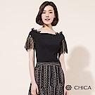 CHICA 春日女神拼接蕾絲平口針織衫(2色)