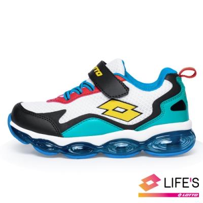 LOTTO 義大利 童 放膽玩色 FLOAT氣墊跑鞋(白黑綠)