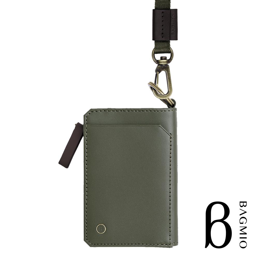 BAGMIO fusion 牛皮三用雙色鑰匙零錢包 綠棕