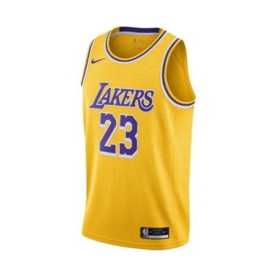 Nike 球衣 LeBron James Lakers 男款 詹姆士 洛杉磯湖人 23號 籃球 背心 黃 紫 CW3669734