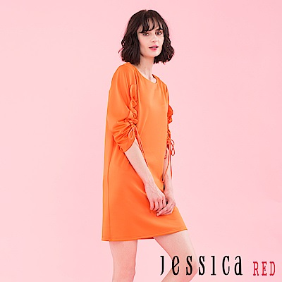 JESSICA RED - 浪漫情迷綁帶造型洋裝(橘)