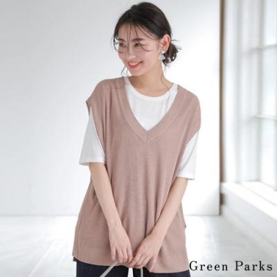 Green Parks 【SET ITEM】圓領T恤+V領針織背心