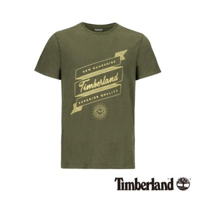 Timberland 男款茶綠色休閒T恤|A1W43