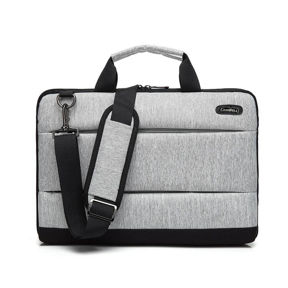 15.6吋 英倫淑紳 雙拉鍊手提肩背平板筆電包(流光炫銀)