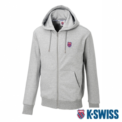 K-SWISS Court Hooded Zip-Up時尚連帽外套-男-灰