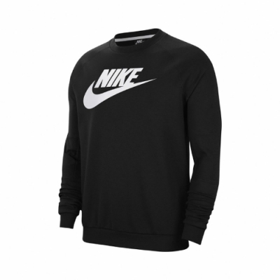 Nike T恤 NSW Fleece Crew 男款 大學T 長袖 圓領 基本款 穿搭 黑 白 CU4474010