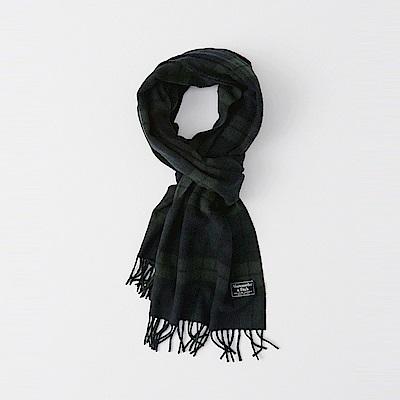 麋鹿 AF A&F 經典標誌舒適保暖圍巾-墨綠色