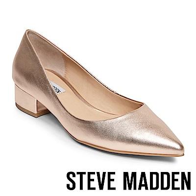 STEVE MADDEN BAIS 真皮尖頭素色中跟鞋-金色