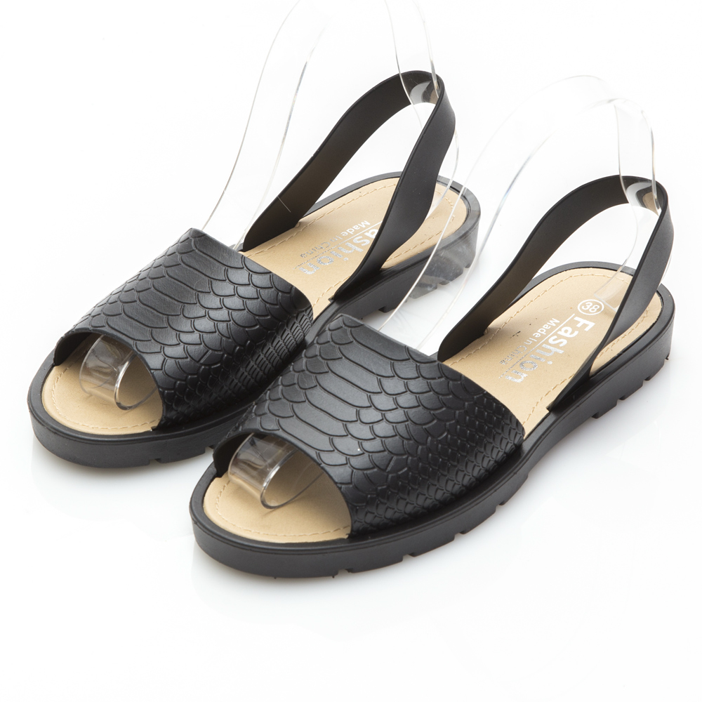 JMS-雨天剋星素面魚口PU防水涼鞋-黑色