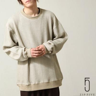 ZIP日本男裝 鳥眼花紋鬆餅織寬版大學TEE (3色)