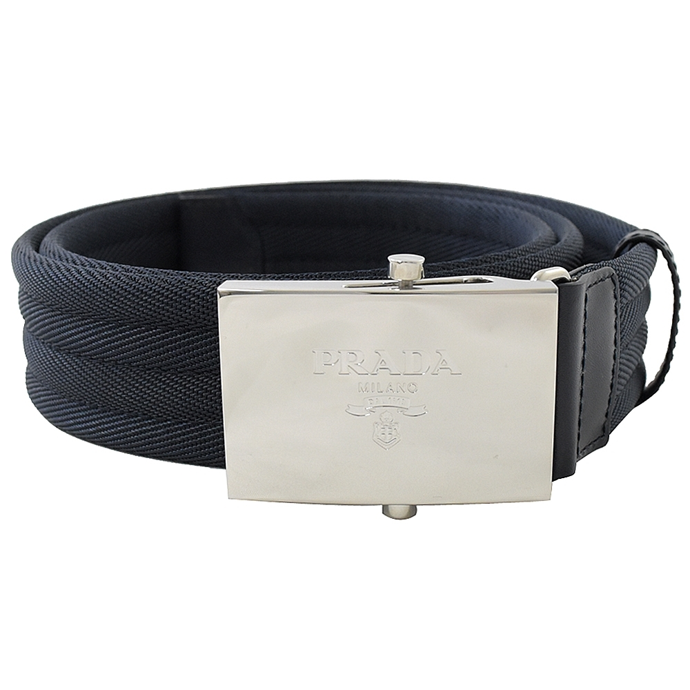 PRADA 烙印LOGO滑扣款織帶寬版皮帶(深藍)