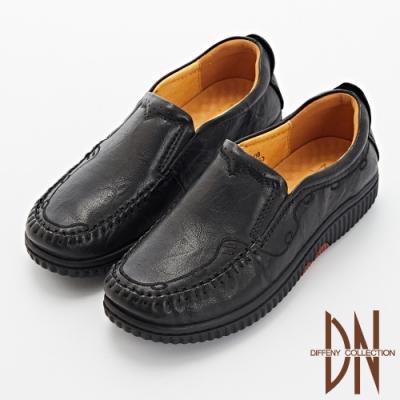 DN平底鞋_親膚全真皮刺繡厚底樂福鞋-黑