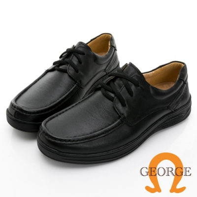 GEORGE 喬治皮鞋經典系列 素面圓頭柔軟真皮寬楦綁帶氣墊鞋 -黑 115016IC