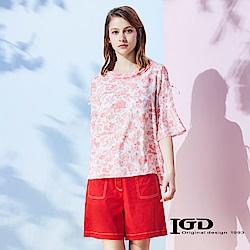 IGD英格麗 花卉袖帶反摺領上衣-紅