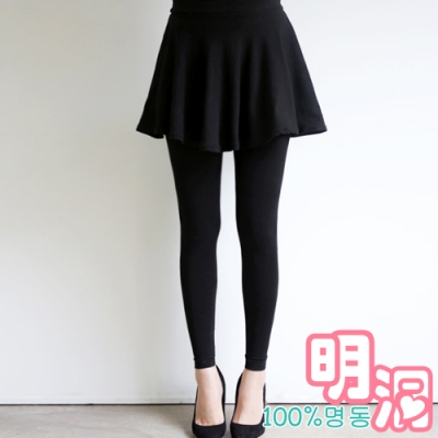 正韓 假兩件短裙拼接激瘦內搭褲 (黑色)-100%明洞