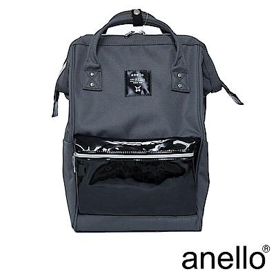 anello 精緻雙材質拼接口金後背包 鐵灰色 L