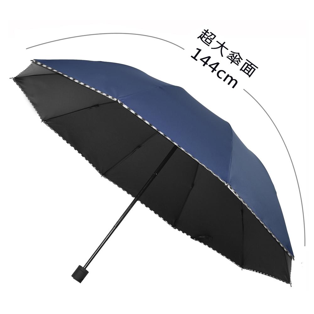 2mm 巨無霸大傘面 格紋邊條黑膠降溫手開傘 (深藍)