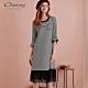 OUWEY歐薇 條紋織蔥紗裙拼接七分袖洋裝(黑) product thumbnail 1