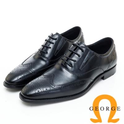 GEORGE 喬治皮鞋 經典漸層雕花綁帶紳士皮鞋-黑色