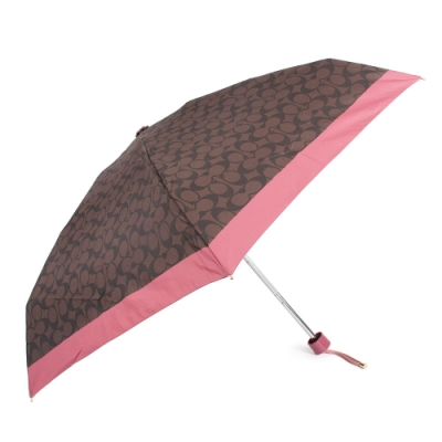 COACH 經典滿版C LOGO 晴雨傘-深咖啡/莓紅色