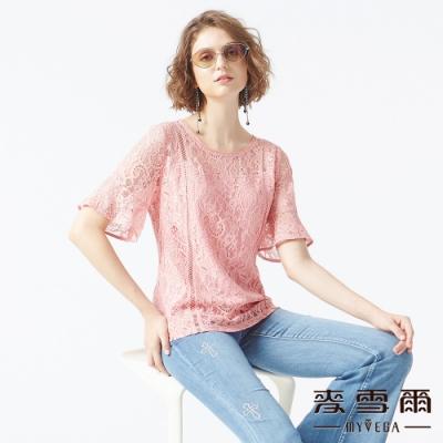 麥雪爾 滿版鏤空蕾絲五分喇叭袖造型上衣-粉