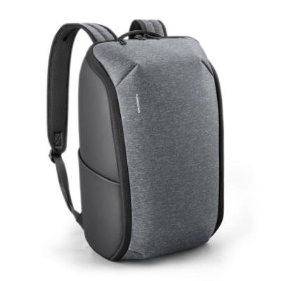 leaper全開式拉鏈防潑水15.6吋電腦後背包 灰黑色