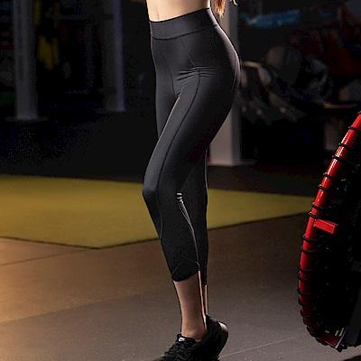 華歌爾-時尚  M-3L 七分壓力褲(黑)吸濕快乾