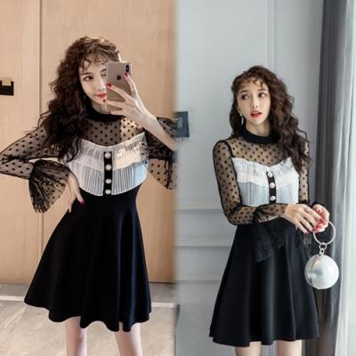 【韓國K.W.】(預購)時尚可愛跳色拼接蕾絲雪紡洋裝-1色