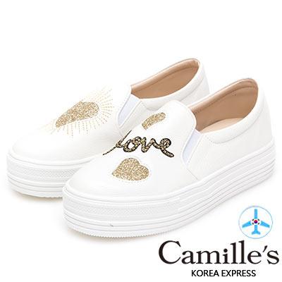 Camille's 韓國空運-正韓製-不對稱愛心閃料厚底懶人鞋-金色