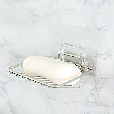 (買一送一)304不鏽鋼L型肥皂架/霧面無痕貼/Home Feeling